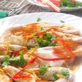 Chinese steamed prawns with egg white