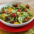 Pesto Spaghetti Zoodles with Heirloom Tomatoes