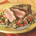 Grilled Tuna over Lemon-Mint Barley Salad