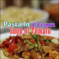 Shell Pasta In Cream Soup of Tomato